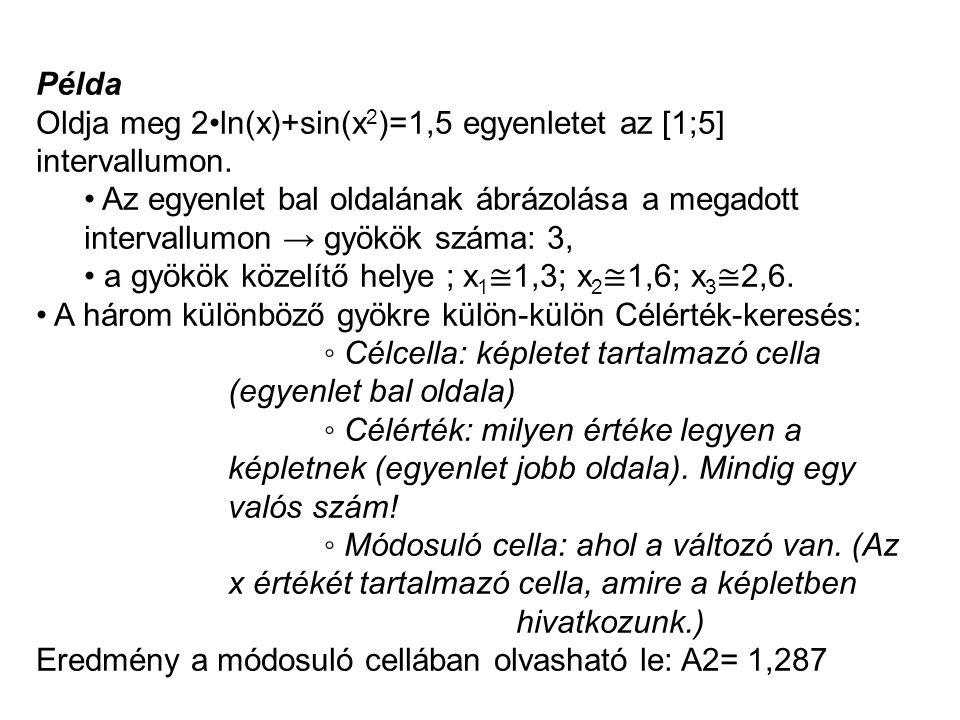 Példa Oldja meg 2•ln(x)+sin(x2)=1,5 egyenletet az [1;5] intervallumon.